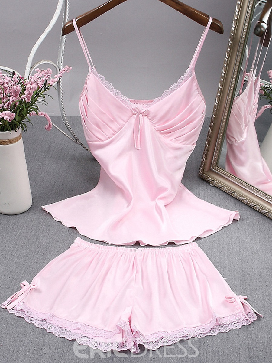 Ericdress Lace Satin Pajama Camisole Short Sets Sexy Loungewear