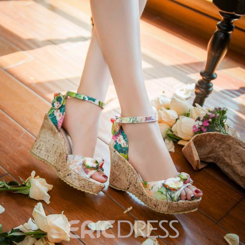 Ericdress Floral Bowknot Open Toe Wedge Sandals