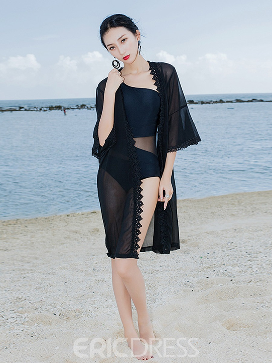 Ericdress Plain See-Through Lace Flare Sleeve Beach Cover Ups