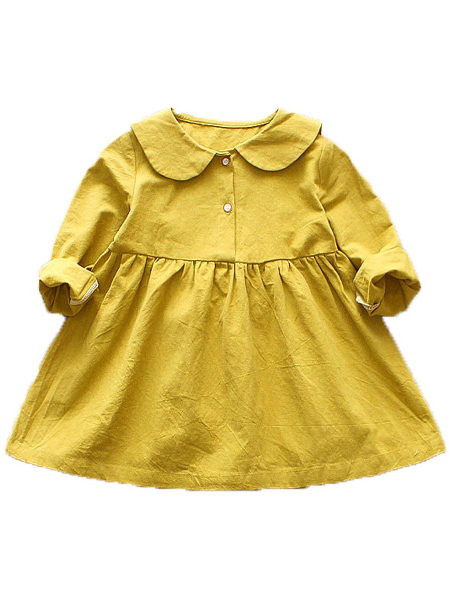 Ericdress Peter Pan Collar Plain Button Baby Girl's Dress