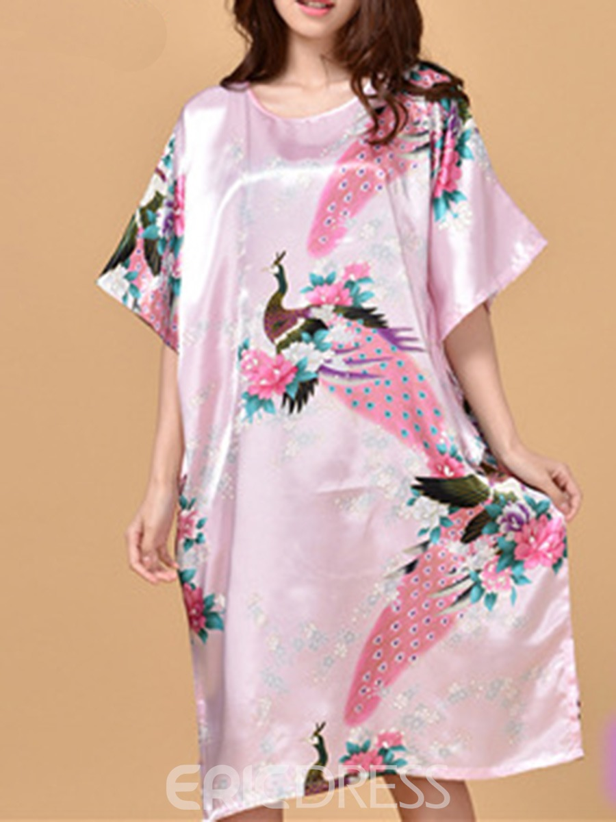 Ericdress Batwing Sleeve Print Animal Floral Mid-Calf Night Dress