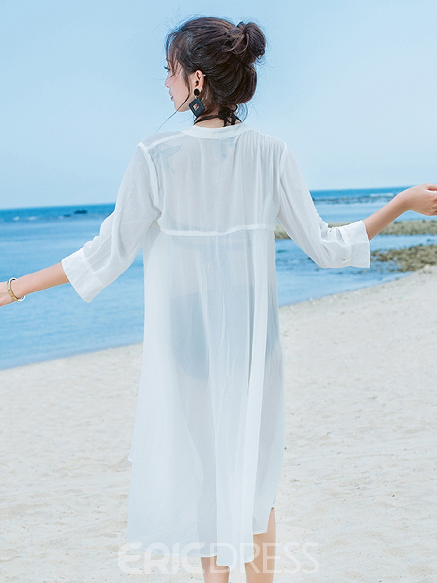 Ericdress Plain Single-Breasted 3/4 Length Sleeves Beach Cover Ups