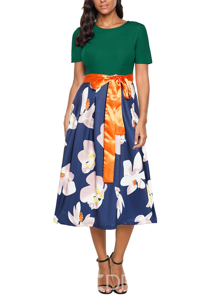 Ericdress Green Floral Patchwork Ladylike Casual Dress