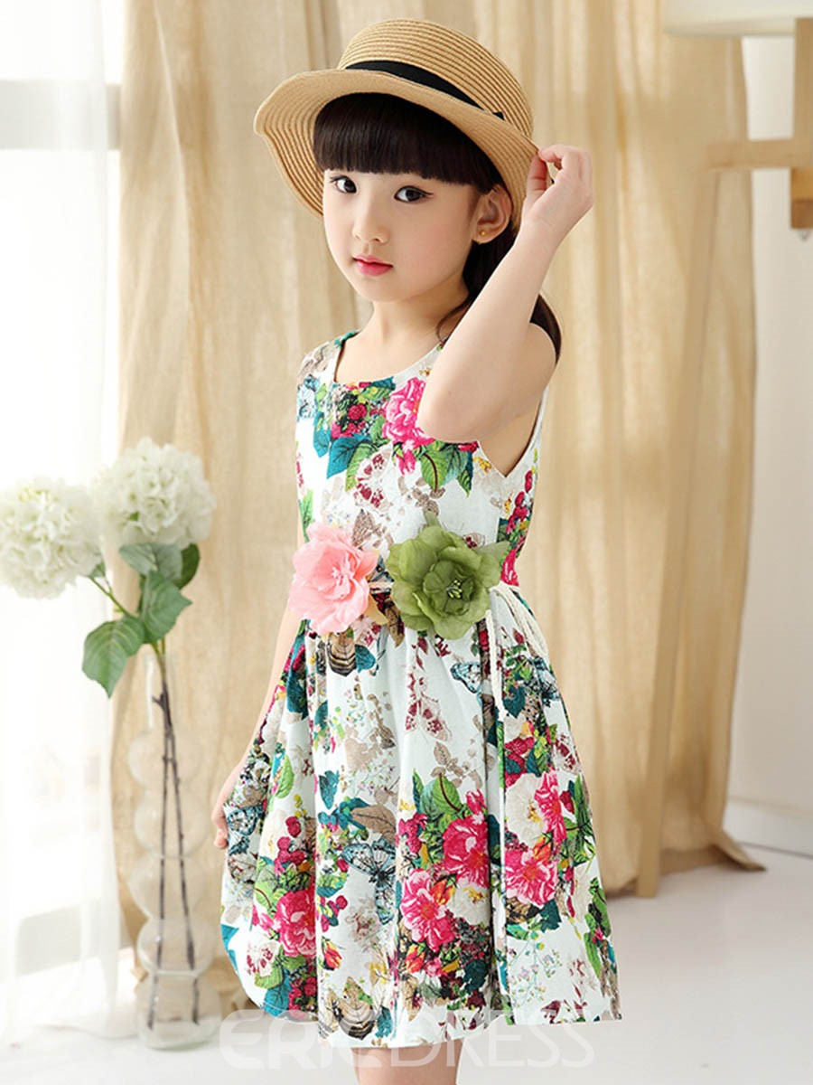 Ericdress Floral Print Patchwork Girl's Sleeveless Casual Dress