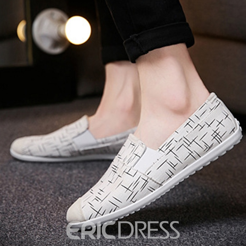 EricdressCanvas Stripe Round Toe Men's Casual Shoes
