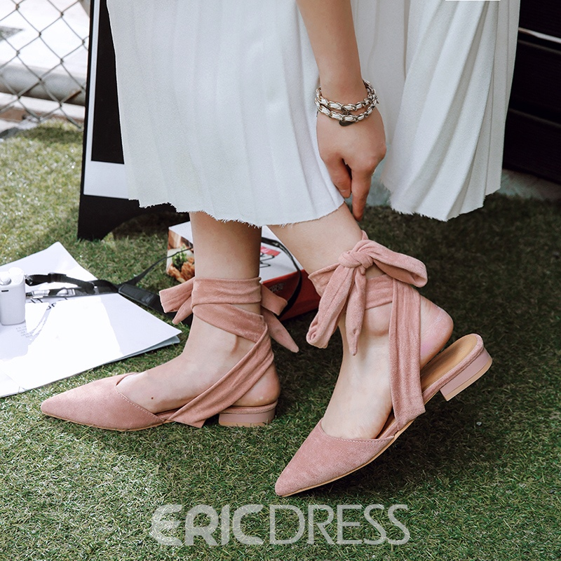 Ericdress Ankle Strap Pointed Toe Block Heel Sandals