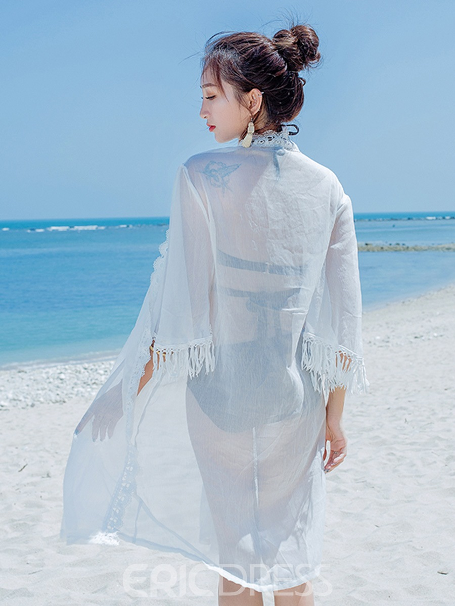 Ericdress Plain White Tassel Flare Sleeve See-Through Lace Beach Cover Ups