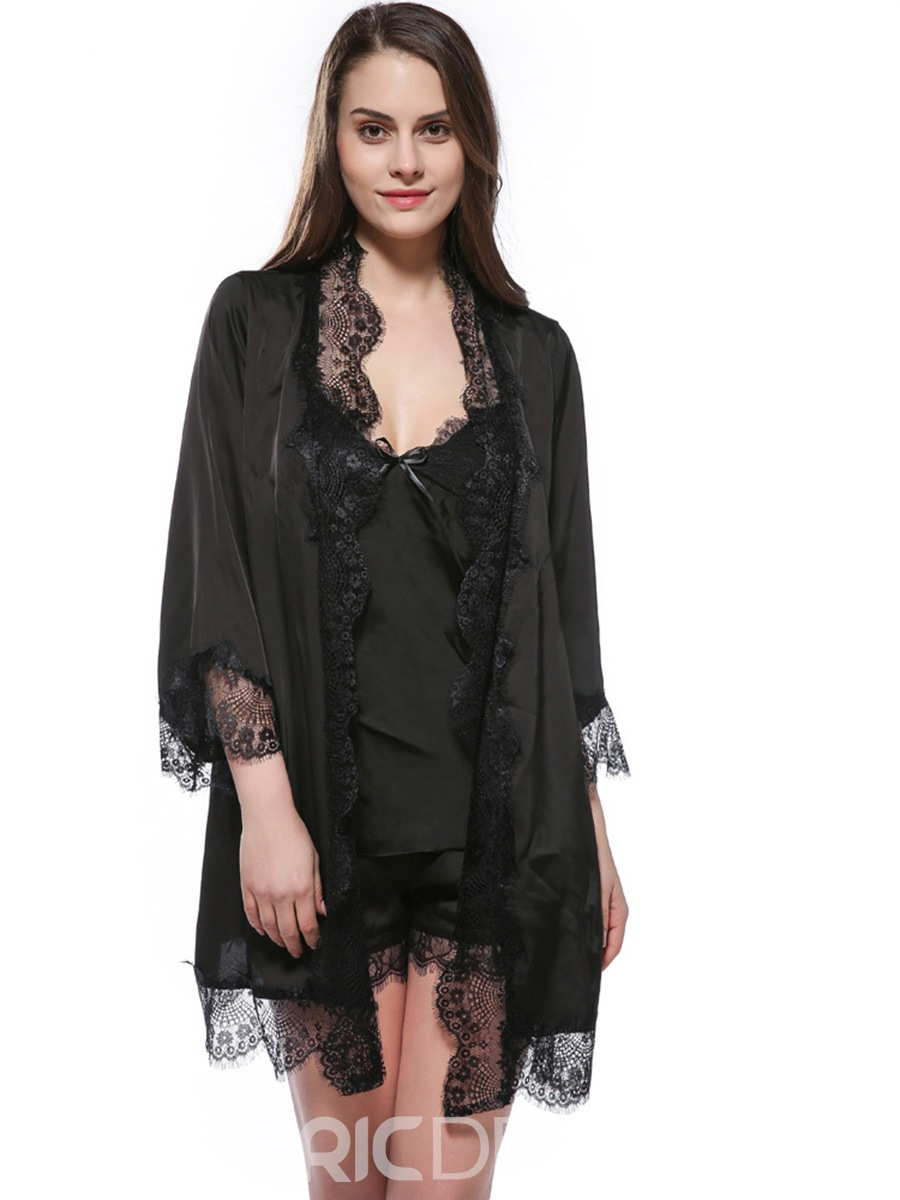Ericdress Lash Lace Batwing Thin Nine Points Sleeve Night Robe