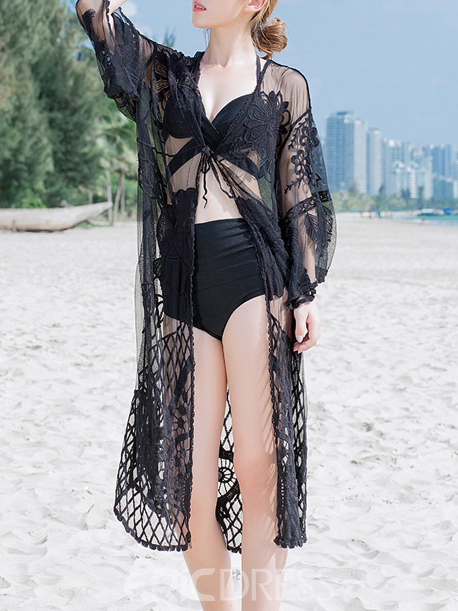 Ericdress Black Plain Hollow Mesh See-Through Lace Lace-Up Beach Cover Ups