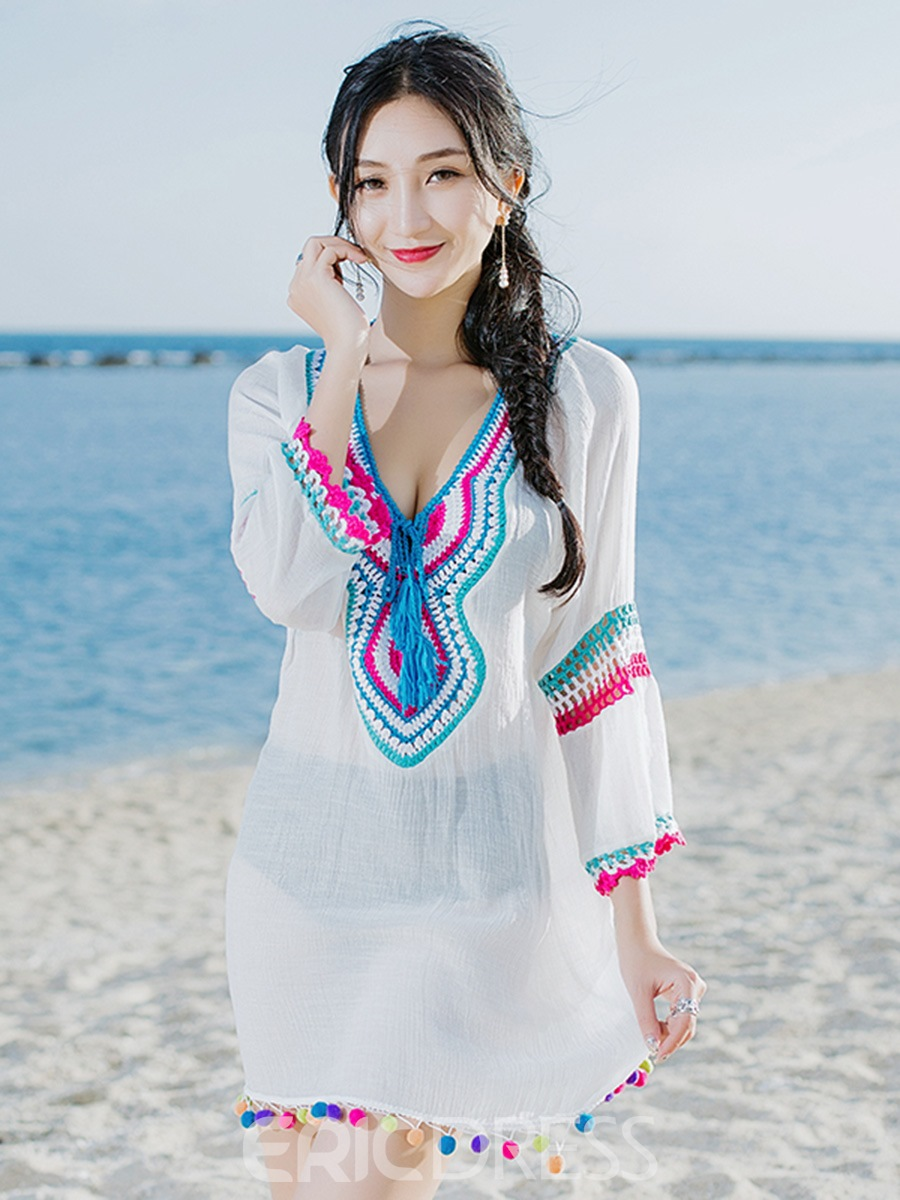 Ericdress White 3/4 Length Sleeves Tassel Embroidery Beach Cover Ups