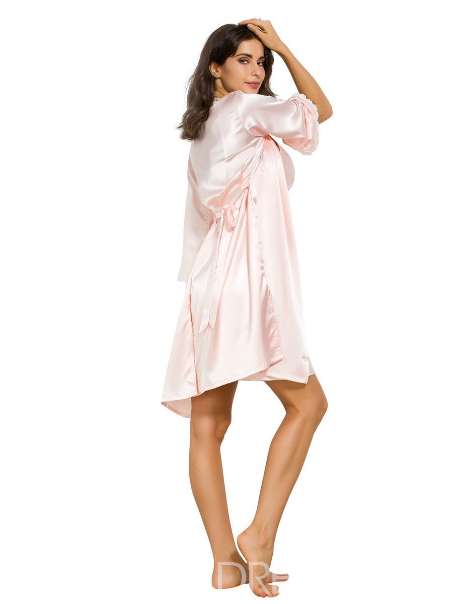 Ericdress Two-piece Adjustable Shoulder Strap Nightdress and Lace-Up Robe