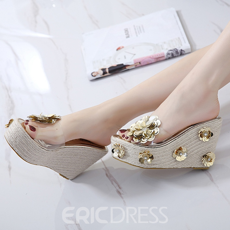 Ericdress Rhinestone Flip Flop Slip-On Wedge Heel Mules Shoes