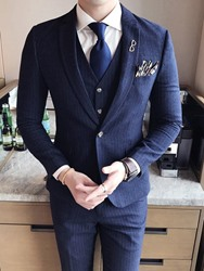 Ericdress Lapel Slim Fit Solid Color Wedding Three-piece of Mens Suits фото