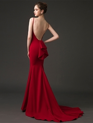 Image of Ericdress Bateau Neck Backless Mermaid Evening Dress