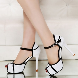 Erikdress Farbe Block Peep Toe Plattform Stiletto Sandalen