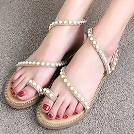 Ericdress Beads Decorated Toe Ring Ankle Strap Flat Sandals