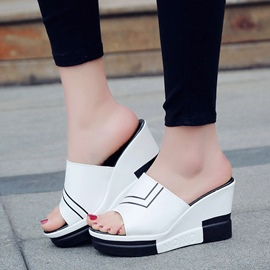 Ericdress Stripe Flip Flop Platform Wedge Heel Mules Shoes