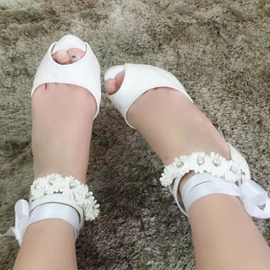 Ericdress Princess Lace Flower Peep Toe Wedding Shoes