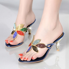 Ericdress Floal Rhinestone Thong Slip-On Women's Mules Shoes