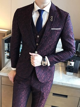 Ericdress Print Plain Mens 3 Piece Suit