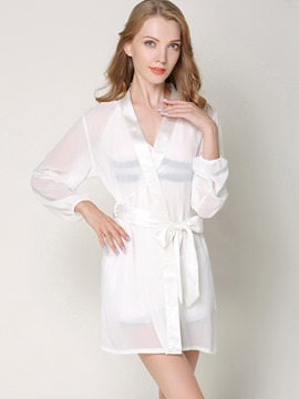 Ericdress Lantern Sleeve V-Neck See-Through Nightgown Robe 3 Pieces