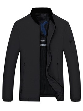 Ericdress Plain Straight Mens Nylon Casual Jacket