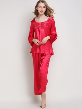 Eircdress Square Neck Long Sleeve Sleepwear Pajama Set