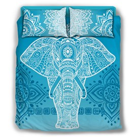 Paisley Blue Elephant Bohemian Style Pattern 4-Piece Bedding Sets/Duvet Cover