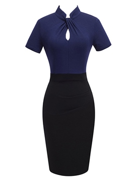 Ericdress Pencil Pullover Color Block Women's Bodycon Dress