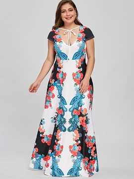 Ericdress V-Neck Floral Plusee Maxi Dress