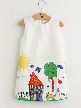 Ericdress Cartoon Print A-Line Girl's Sleeveless Dress