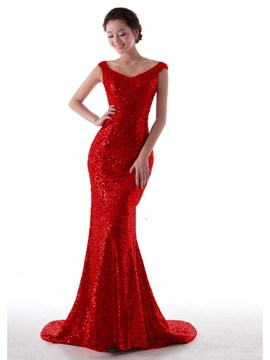 Ericdress Cap Sleeve Sequins Mermaid Evening Dress
