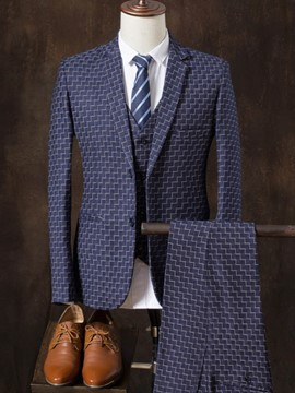 Ericdress Stripe Plaid Print Mens 3 Piece Suit