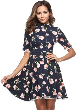 Ericdress Stand Collar Floral Women's Casual Dress