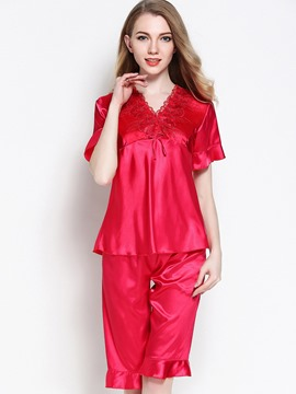 Ericdress Loungewear V-Neck Falbala Short Sleeve Knee Length Pajama Set