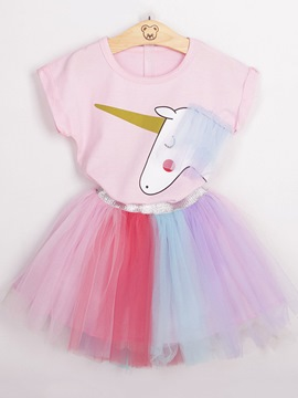 Ericdress Unicorn Color Block Girl's Pink Summer Outfits