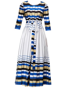 Ericdress Geometric Print Expansion High Waist Women's Maxi Dress