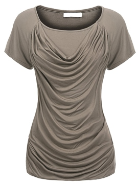 Ericdress Slim Pleated Scoop Plain Short Sleeve Tee Shirt