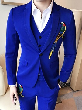 Ericdress Embroidery Plain Mens 3 Piece Suit