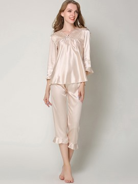 Eircdress Sleepwear V-Neck Pullover Flare Sleeve Pajama Set