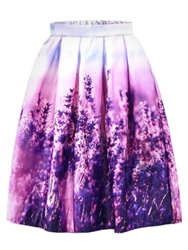 Ericdress Pleated Floral Mid-Calf Women's Skirt