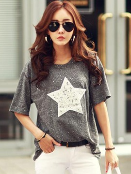 Ericdress Star Print Scoop Short Sleeve Tee Shirt