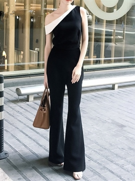 Ericdress One Shoulder Contrast Color Black And White Jumpsuits
