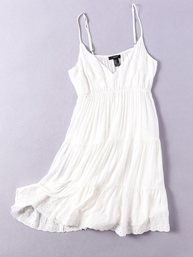 Ericdress White V Neck Ruffle Women's Party Dress