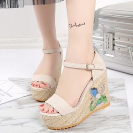 Ericdress Plain Open Toe Platform Wedge Sandals