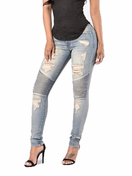 Ericdress Washable Ripped Women's Jeans