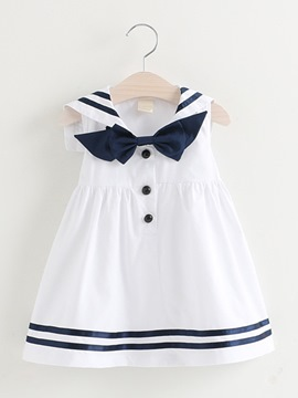 Ericdress Stripe Color Block Bowknot Button Girl's Dress