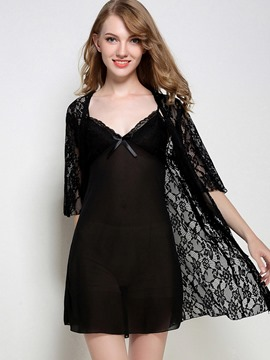 Ericdress 2 Pieces See-Through Plain Half Sleeve Nightgown and Robe