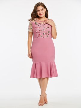 Ericdress Pink Mermaid Ruffles Embroidery Hollow Casual Dress