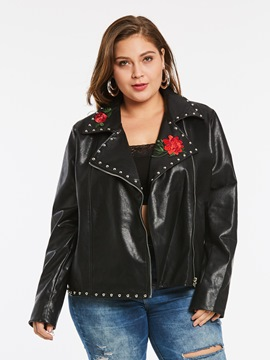 Ericdress Plus-Size Zipper Rivet Jacket